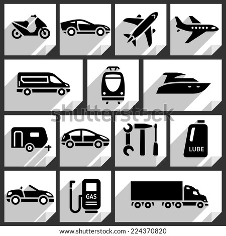 Transport black icons on white paper stickers-09 - stock vector