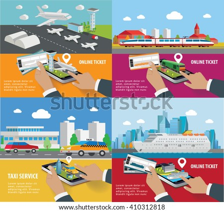 Transport booking app on smartphone screen. tickets service. online booking from smartphone - stock vector