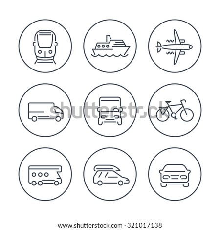 Transport, car, van, minivan, bus, train, airplane line icons in circles, vector illustration - stock vector