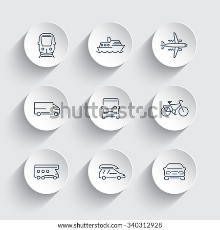Transport, car, van, minivan, bus, train, airplane line icons on 3d shapes, vector illustration - stock vector
