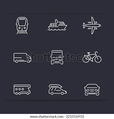 Transport, car, van, minivan, bus, train, airplane, ship line white icons, vector illustration - stock vector