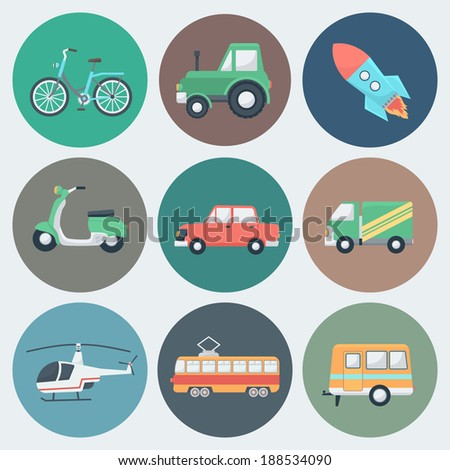 Transport Circle Icons Set in Trendy Flat Style - stock vector