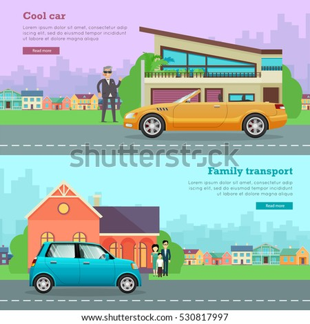 Transport. Collection of two icons with different means of transportation. Picture of isolated cool cabriolet on road near man and house. Cheap family small car near house with relatives. Vector