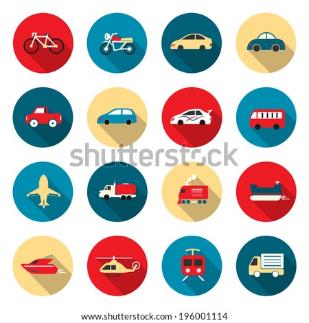 Transport color Icons waterways, overland, air - stock vector