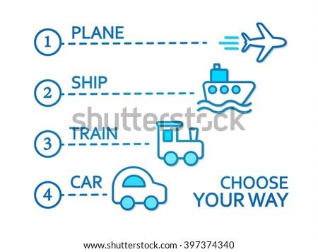 Transport Concept. Train, Plane, Ship & Car. Vector illustration - stock vector