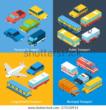 Transport design concept set with public personal long-distance and municipal isometric icons set isolated vector illustration - stock vector