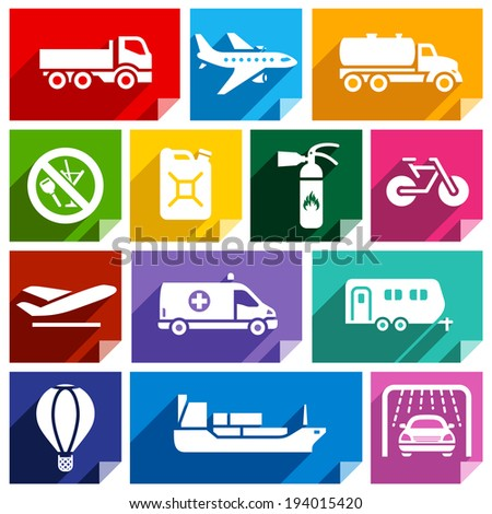 Transport flat icons with shadow, stickers square shapes, bright colors - Set 02 - stock vector