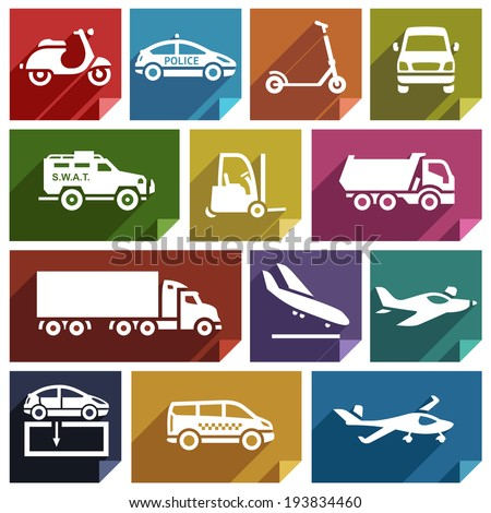 Transport flat icons with shadow, stickers square shapes, retro colors - Set 05 - stock vector