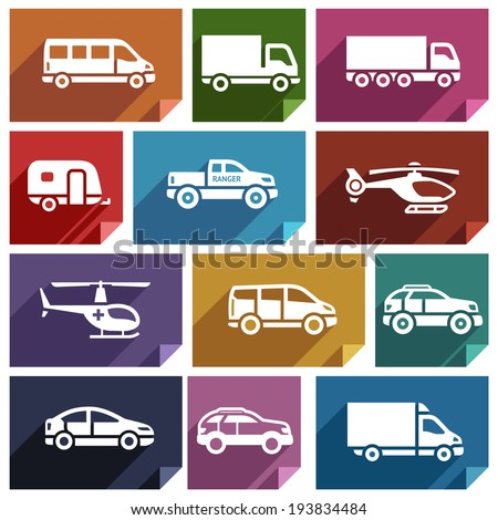 Transport flat icons with shadow, stickers square shapes, retro colors - Set 03 - stock vector