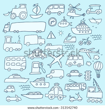 Transport hand drawn set - stock vector
