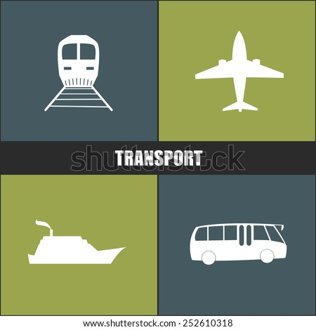 transport icon blue and green background - stock vector