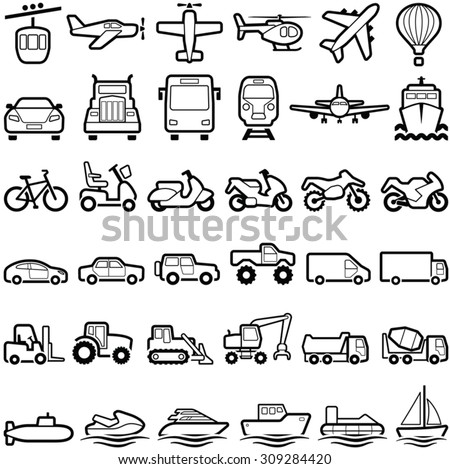 Transport icon collection - vector line illustration - stock vector