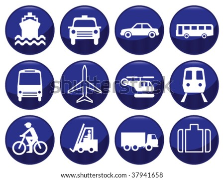 Transport icon set each icon individually layered - stock vector