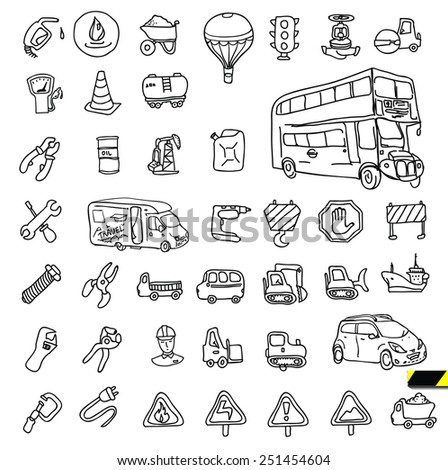 Transport icon with reflection: Cars, Ships, Trains, ..., vector illustrations, set silhouettes isolated on white background. - stock vector