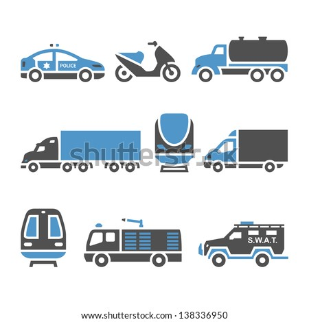 Transport Icons - A set of eighth. Vector illustrations, set silhouettes isolated on white background. Bicolor (blue and gray colors). - stock vector
