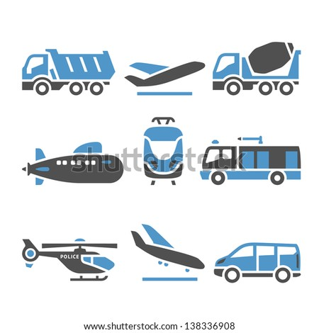 Transport Icons - A set of eleventh. Vector illustrations, set silhouettes isolated on white background. Bicolor (blue and gray colors). - stock vector