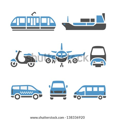Transport Icons - A set of ninth. Vector illustrations, set silhouettes isolated on white background. Bicolor (blue and gray colors). - stock vector