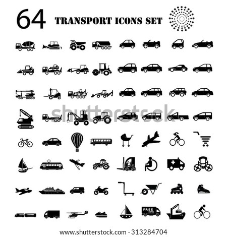 Transport icons big set illustration - stock vector