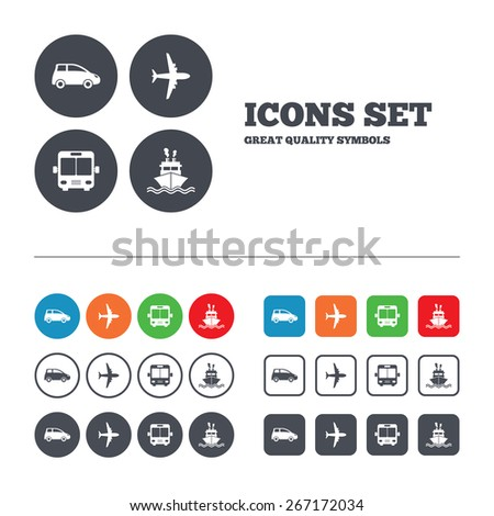 Transport icons. Car, Airplane, Public bus and Ship signs. Shipping delivery symbol. Air mail delivery sign. Web buttons set. Circles and squares templates. Vector - stock vector