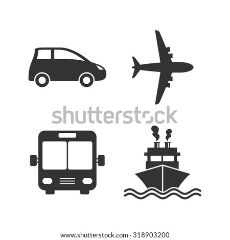 Transport icons. Car, Airplane, Public bus and Ship signs. Shipping delivery symbol. Air mail delivery sign. Flat icons on white. Vector - stock vector