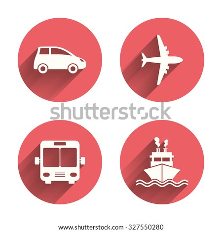 Transport icons. Car, Airplane, Public bus and Ship signs. Shipping delivery symbol. Air mail delivery sign. Pink circles flat buttons with shadow. Vector - stock vector