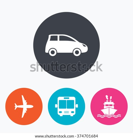 Transport icons. Car, Airplane, Public bus and Ship signs. Shipping delivery symbol. Air mail delivery sign. Circle flat buttons with icon. - stock vector