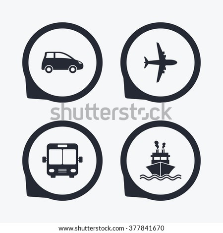 Transport icons. Car, Airplane, Public bus and Ship signs. Shipping delivery symbol. Air mail delivery sign. Flat icon pointers. - stock vector