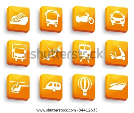 Transport icons on buttons - stock vector