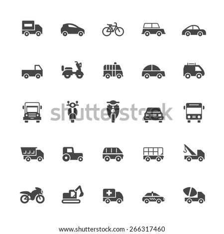 Transport icons on White Background Vector Illustration  - stock vector