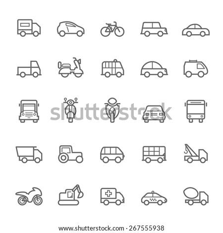 Transport icons Outline Stroke on White Background Vector Illustration - stock vector