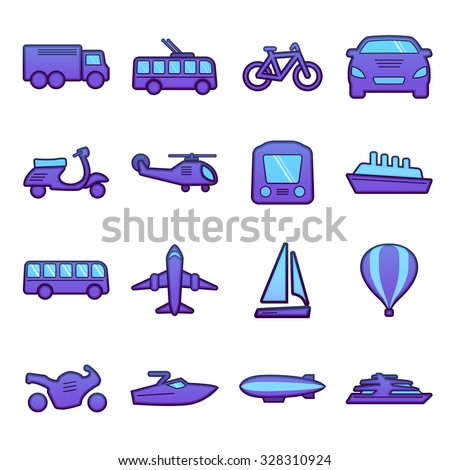 Transport icons set. Auto, bus, plane, ship, bicycle. Vector Illustration. - stock vector