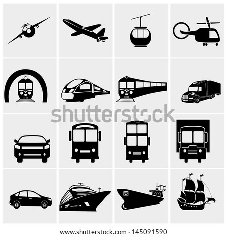 Transport icons set, basic series - stock vector