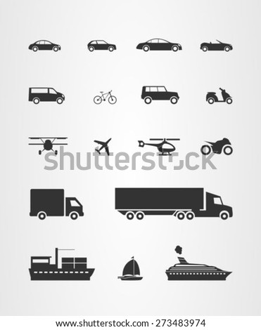 Transport icons set ,cars trucks and commercial transport - stock vector