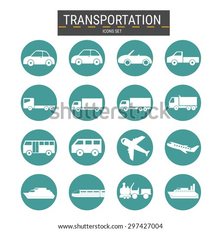 Transport icons set ,transportation ,logistics .Vector Illustration . - stock vector