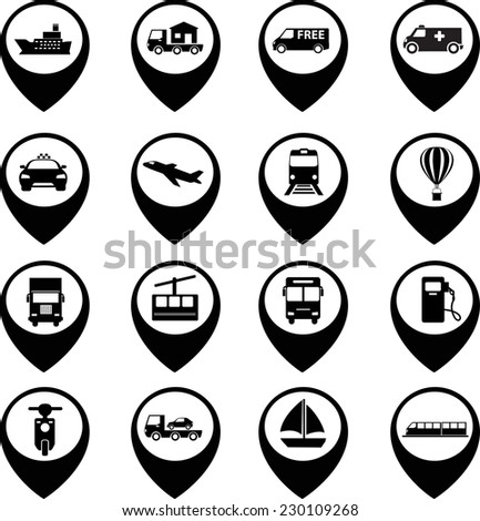 Transport icons set with map - stock vector