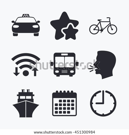 Transport icons. Taxi car, Bicycle, Public bus and Ship signs. Shipping delivery symbol. Family vehicle sign. Wifi internet, favorite stars, calendar and clock. Talking head. Vector - stock vector