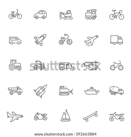 Transport icons, thin line design - stock vector