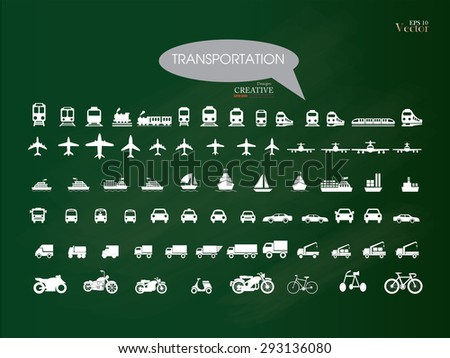 Transport icons.transportation on chalkboard.transportation .logistics.logistic icon.vector illustration. - stock vector