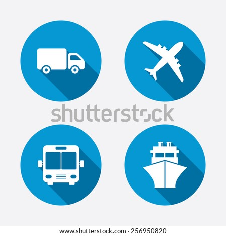 Transport icons. Truck, Airplane, Public bus and Ship signs. Shipping delivery symbol. Air mail delivery sign. Circle concept web buttons. Vector - stock vector
