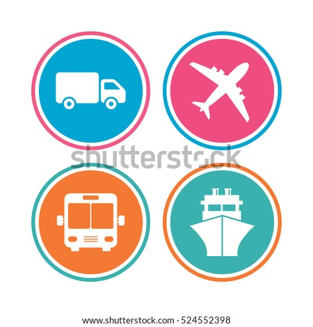 Transport icons. Truck, Airplane, Public bus and Ship signs. Shipping delivery symbol. Air mail delivery sign. Colored circle buttons. Vector