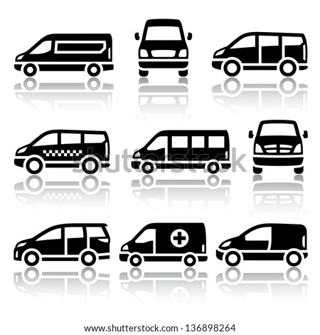 Transport icons - Van, vector illustrations, set silhouettes isolated on white background. - stock vector