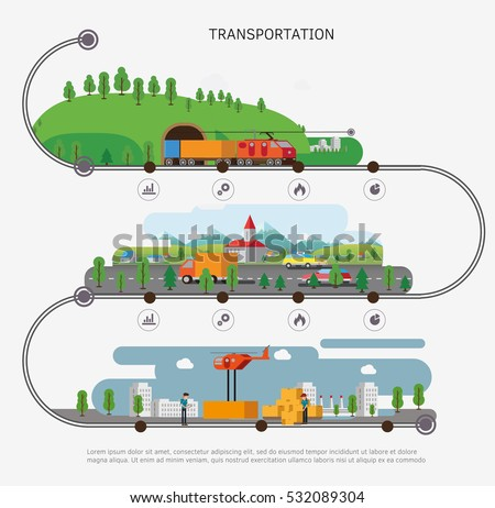 Transport illustration. Transportation by water, by air, by road. Isometric illustration.