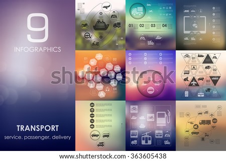 transport infographic with unfocused background - stock vector