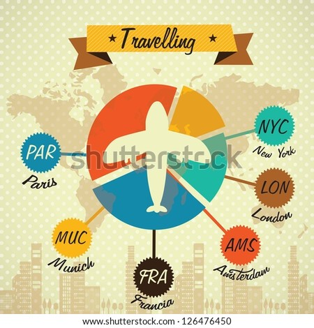 Transport Infographics with airplane. Concept of travelling. Vintage style icons - stock vector