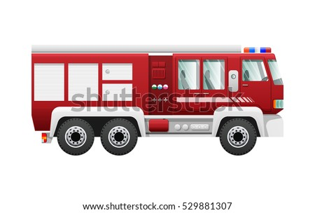 Transport. Isolated red fire truck on six wheels. Fire-engine with six doors. Detailed image of firefighting vehicle. Main device of firefighters in cartoon style. Side view. Flat design. Vector