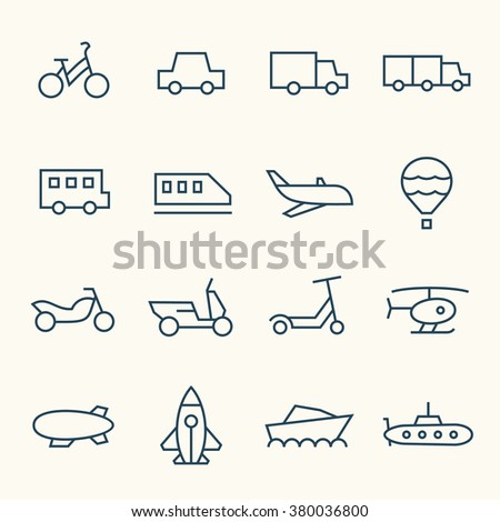 Transport line icons - stock vector