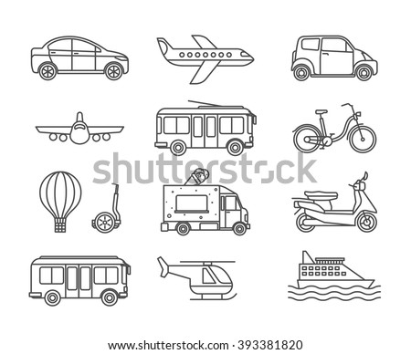 Transport line icons. Outline transport black vector icons on white background - stock vector