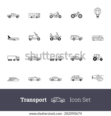 Transport outline icon set. Personal transport, air transport, water carriage, public transport. - stock vector