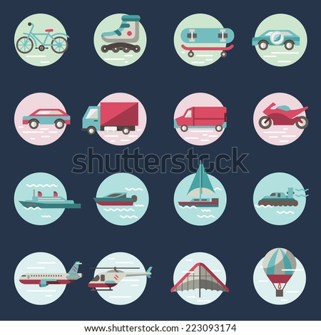 Transport round button icons set with truck helicopter motorcycle isolated vector illustration - stock vector