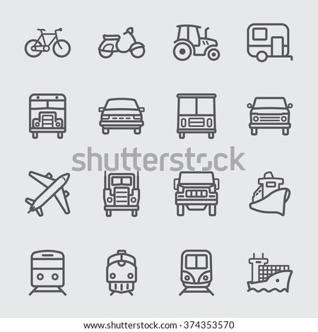 Transport set line icons - stock vector